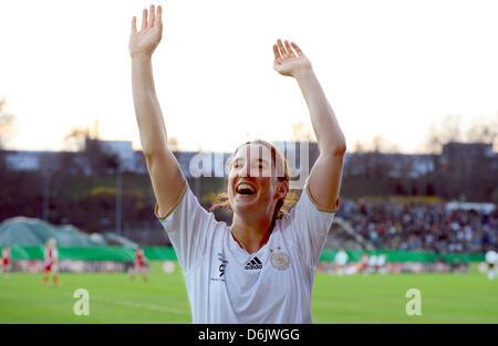 FRANKFURT AM MAIN, GERMANY - MARCH 27: Birgit Prinz celebrates during the Birgit Prinz farewell match between Germany - Stock Photo