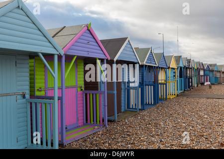 Beach huts at Herne Bay, Kent, England, United Kingdom, Europe - Stock Photo
