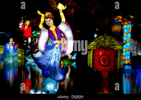 The Magic of Lanterns Festival in the Chinese Garden at the Montreal Botanical Garden, Montreal, Quebec Province, - Stock Photo