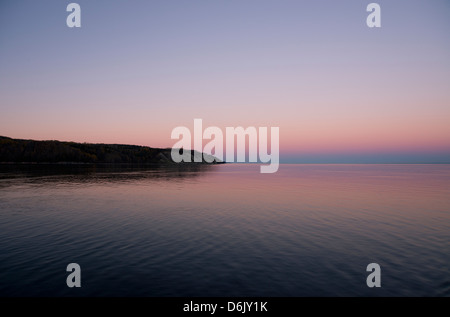 Sunset on the Saguenay River, Quebec Province, Canada, North America - Stock Photo