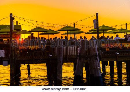 Sunset celebration, Mallory Square, Key West, Florida Keys, Florida USA - Stock Photo