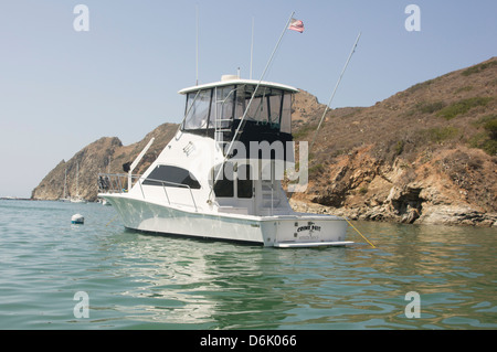 Named sportfisher yacht 'Crime Pays' moored in Catalina Harbor on Santa Catalina Island. Property release included. - Stock Photo
