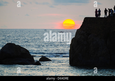 Sunset on the Indian Ocean, Galle, Southern Province, Sri Lanka, Asia - Stock Photo