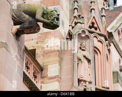 Gargoyles on Freiburg Cathedral, Freiburg, Baden-Wurttemberg, Germany, Europe, Europe - Stock Photo