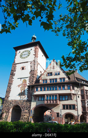 Old town city gate, Freiburg, Baden-Wurttemberg, Germany, Europe - Stock Photo