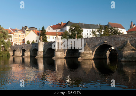 Kamenny Most, the oldest Gothic stone bridge in the Czech Republic, over the Otava River, Pisek, Budejovicko, Czech - Stock Photo
