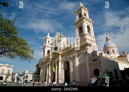 Iglesia Catedral, the main cathedral on 9 Julio Square, Salta City, Argentina, South America - Stock Photo