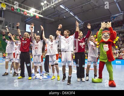 Magdeburg's Damir Doborac (L-R), Gerrit Eijlers, Bennet Wiegert, Yves Grafenhorst, Robert Weber, Bjoergvin Gustavsson - Stock Photo