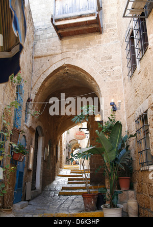 Alleys in the Old Jaffa, Tel Aviv, Israel, Middle East - Stock Photo
