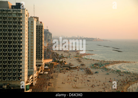 View over the skyline and beaches of Tel Aviv, Israel, Middle East - Stock Photo