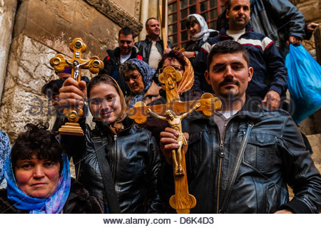Armenian pilgrims outside the Church of the Holy Sepulchre, Jerusalem Israel - Stock Photo