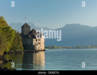 The Castle of Chillon, on Lake Geneva, Montreux, Canton Vaud, Switzerland, Europe - Stock Photo