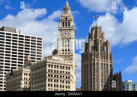 The Wrigley Building and Tribune Tower, Chicago, Illinois, United States of America, North America - Stock Photo