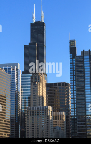 Skyscrapers including Willis Tower, formerly Sears Tower, Chicago, Illinois, United States of America, North America - Stock Photo