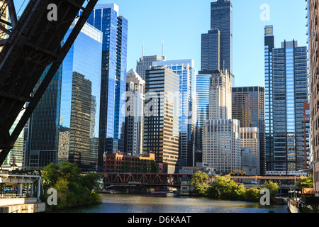 Chicago River and towers of the West Loop area, Willis Tower, formerly Sears Tower in the background, Chicago, Illinois, - Stock Photo