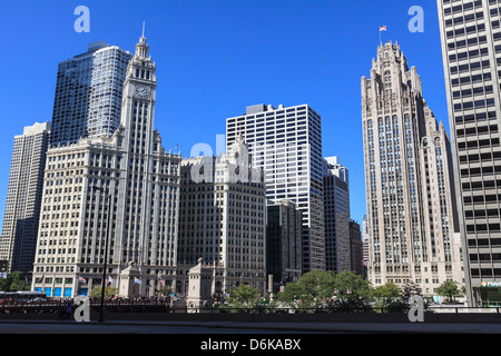 Wrigley Building and Tribune Tower, Chicago, Illinois, United States of America, North America - Stock Photo