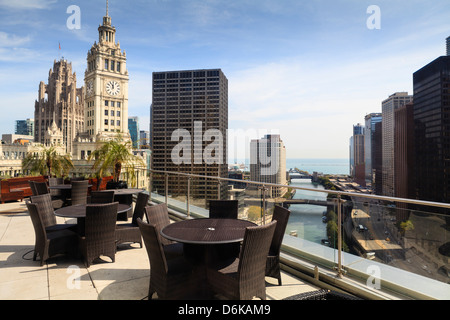 View from Trump Tower Hotel, Chicago, Illinois, United States of America, North America - Stock Photo