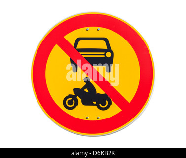 European round traffic sign, the passage of vehicles and motorcycles prohibited - Stock Photo