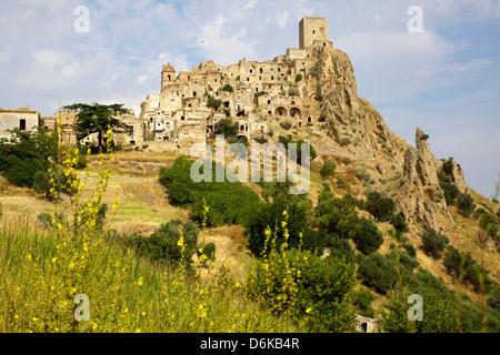 The Citadelle, deserted village of Craco in Basilicata, Italy, Europe - Stock Photo