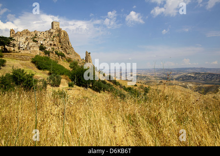 The Citadelle, deserted village of Craco in Basilicata, Italy, Europe - Stock Photo