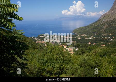 View of the coast, Maratea, Tyrrhenian Sea, Basilicata, Italy, Europe - Stock Photo