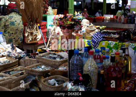 The central Market of Papeete in Tahiti, Society Islands, French Polynesia, Pacific Islands, Pacific - Stock Photo