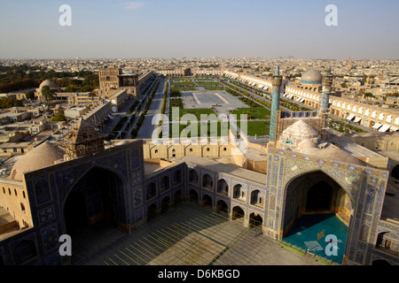 View from the great minaret over the Royal Square, UNESCO Site, Grand Mosque, Isfahan, Iran, Middle East - Stock Photo