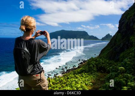 Woman trekking on Ofu Island, Manua Island group, American Samoa, South Pacific, Pacific - Stock Photo