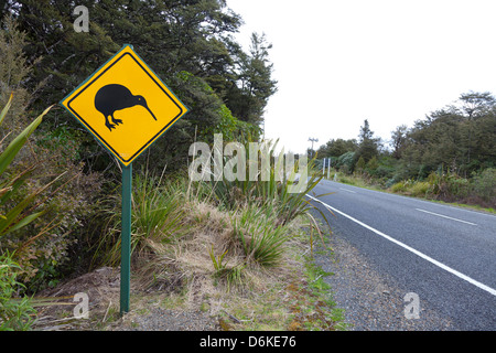 Kiwi sign near the road, Northern Island, New Zealand - Stock Photo