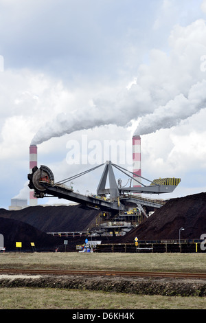 The biggest brown coal power plant of Europe in Belchatow, Poland - Stock Photo