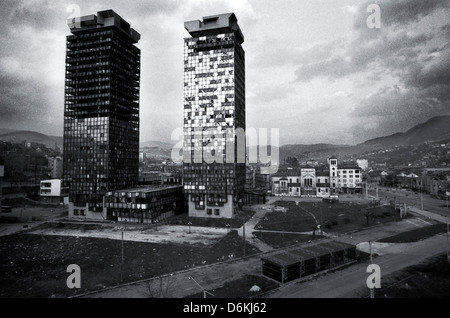 Destroyed buildings in the city center, Sarajevo, Bosnia and Herzegovina - Stock Photo