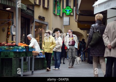 Lugano, Switzerland, shopping street in the center of Lugano - Stock Photo