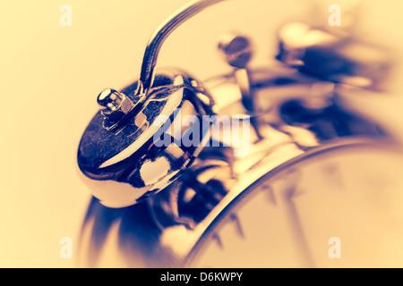 alarm clock ring bells closeup - Stock Photo