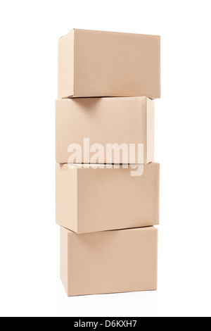 Cardboard boxes pile isolated on white, clipping path included - Stock Photo