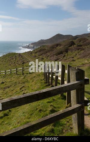 South West Coast Path Woolacombe Devon England coastline towards Morte Point - Stock Photo