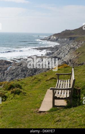 Woolacombe Devon England coastline towards Morte Point from South West Coast Path view - Stock Photo