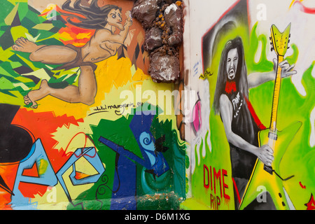 Cyprus - Graffiti painted houses at the Old town of Limassol/ Lemesos - Stock Photo