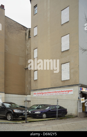 Berlin, Germany, cardealers on a small corner lot - Stock Photo