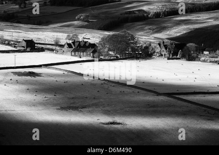 England, County Durham, Derwent Valley. Infrared Black and white shot of the peaceful Derwent Valley - Stock Photo
