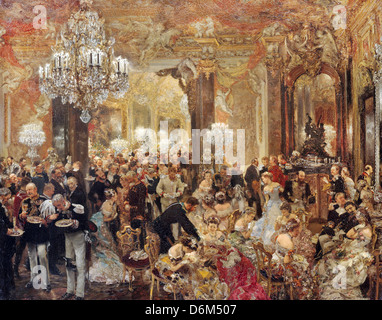Adolf Menzel, The Dinner at the Ball 1878 Oil on canvas. Alte Nationalgalerie, Berlin - Stock Photo