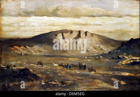 Adolf Kosarek, Lonely Landscape (Peasants´ Wedding) 1858 Oil on canvas. National Gallery in Prague - Stock Photo