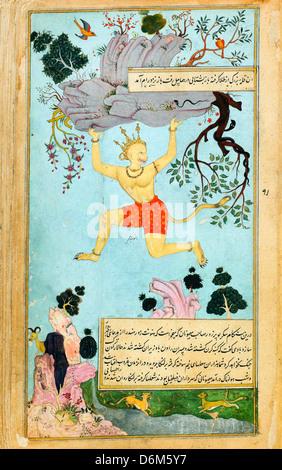 Abd al-Rahim, The Ramayana (Tales of Rama; The Freer Ramayana) 1597-1605 Ink, watercolor, gold on paper - Stock Photo
