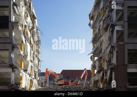 Berlin, Germany, demolition of a parking garage between employees of the French road and Behrenstrasse - Stock Photo