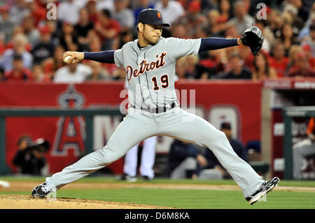 Anaheim, California, USA. 19th April, 2013. Tigers' Anibal Sanchez #19 in action during the Major League Baseball - Stock Photo