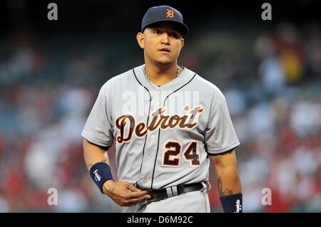 Anaheim, California, USA. 19th April, 2013. Tigers' Miguel Cabrera #24 in action during the Major League Baseball - Stock Photo