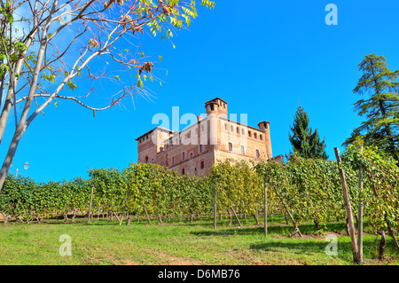 View of medieval castle of Grinzane Cavour among vineyards on the downhill under clear blue sky in Piedmont, Northern - Stock Photo