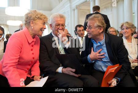 Daniel Cohn-Bendit (R), EU politician of the Greens and publicist, talks to Winfried Kretschmann (C-Alliance 90/The - Stock Photo
