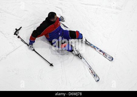 Dubai, United Arab Emirates, man crashed while skiing - Stock Photo