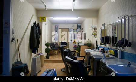 Empty barber's shop interior, Brighton UK - Stock Photo