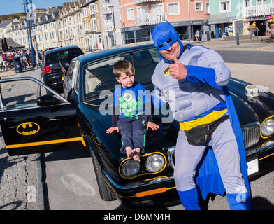 Aberystwyth, UK. 20th April, 2013. .  Car and Driver Fancy Dress Traveling Treasure Hunt in aid of Birmingham Children's - Stock Photo